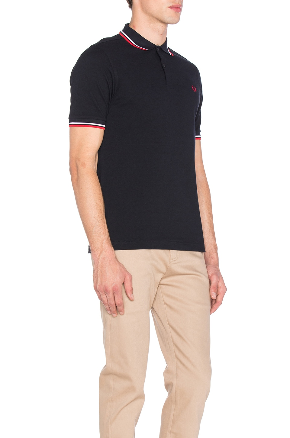 Fred Perry Slim Fit Twin Tipped Polo in Navy & White & Red