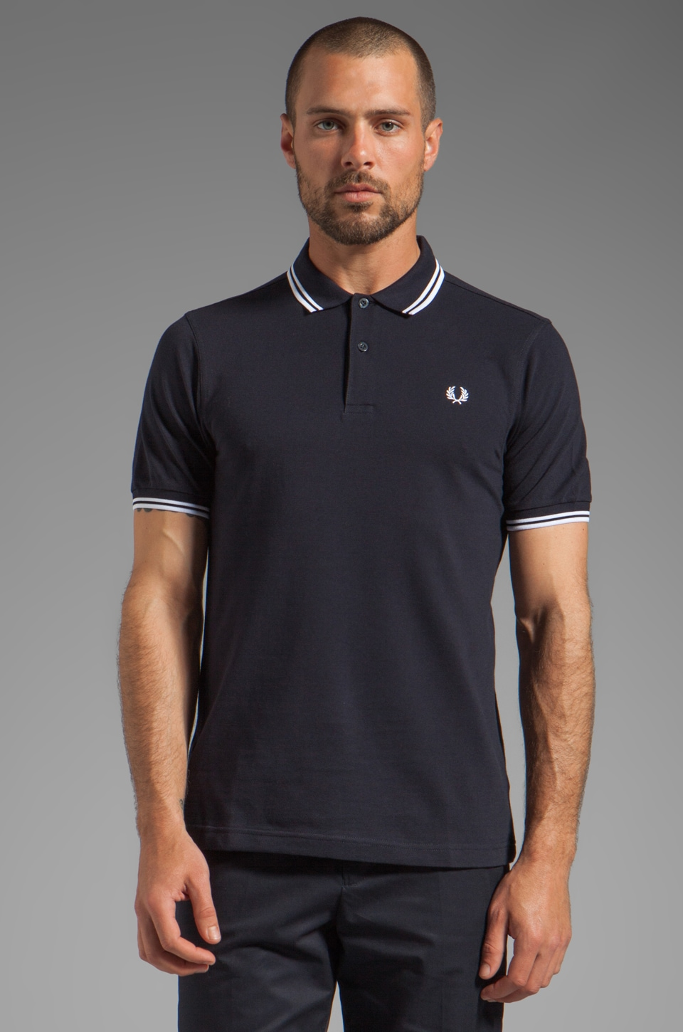 Fred Perry Twin Tipped Polo in Navy/White