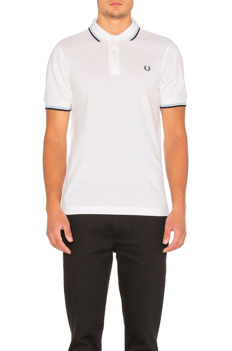 Fred Perry Twin Tipped Slim Fit Polo in White & Navy & Ice