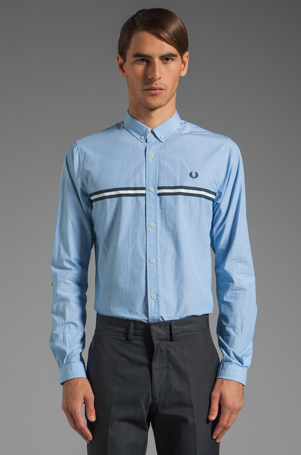 Fred Perry Printed Chest Tipped Shirt in Turquoise