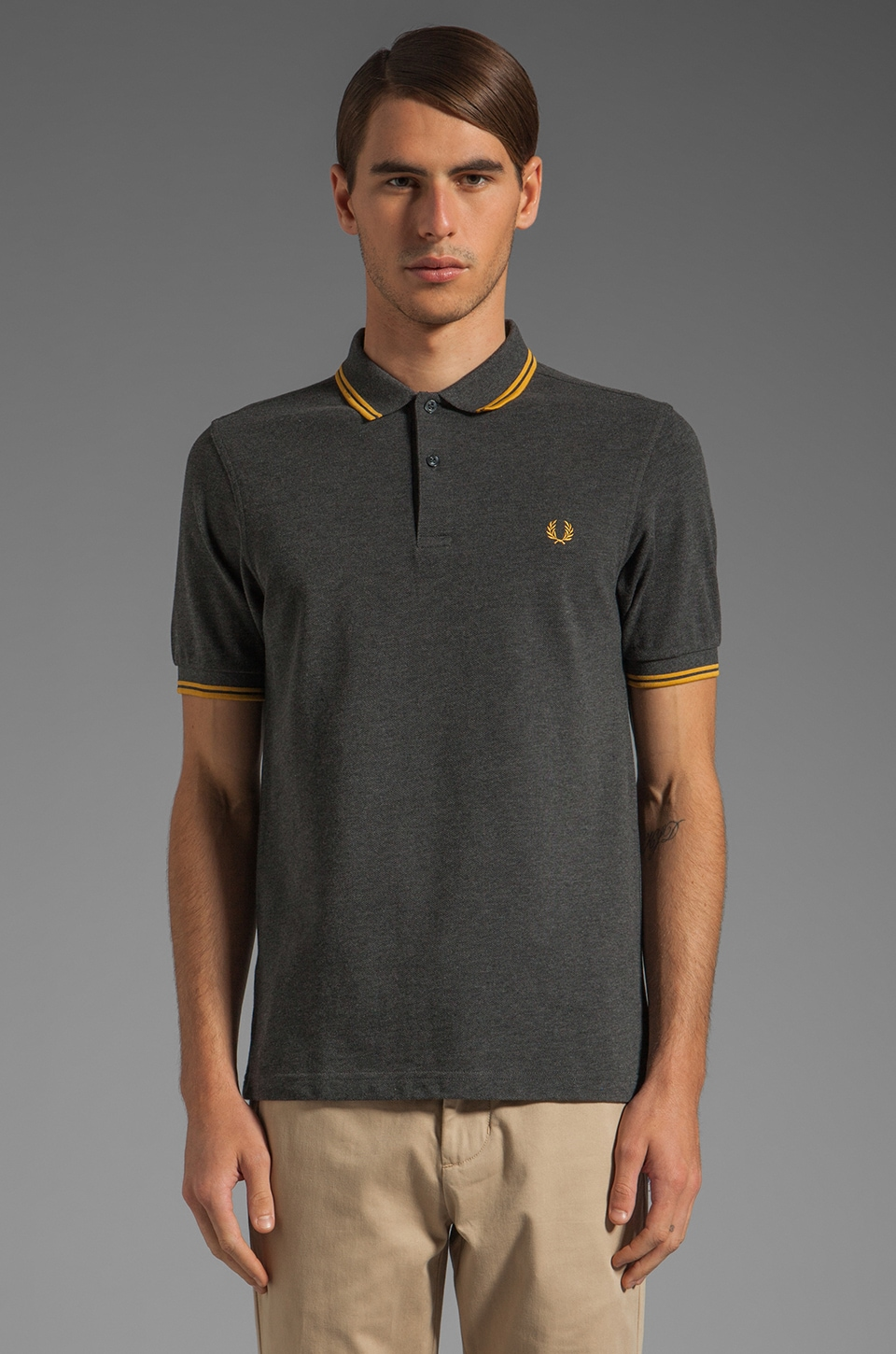 Fred Perry Twin Tipped Fred Perry Shirt in Graphite Marl/Mustard Yellow/Mustard Yellow