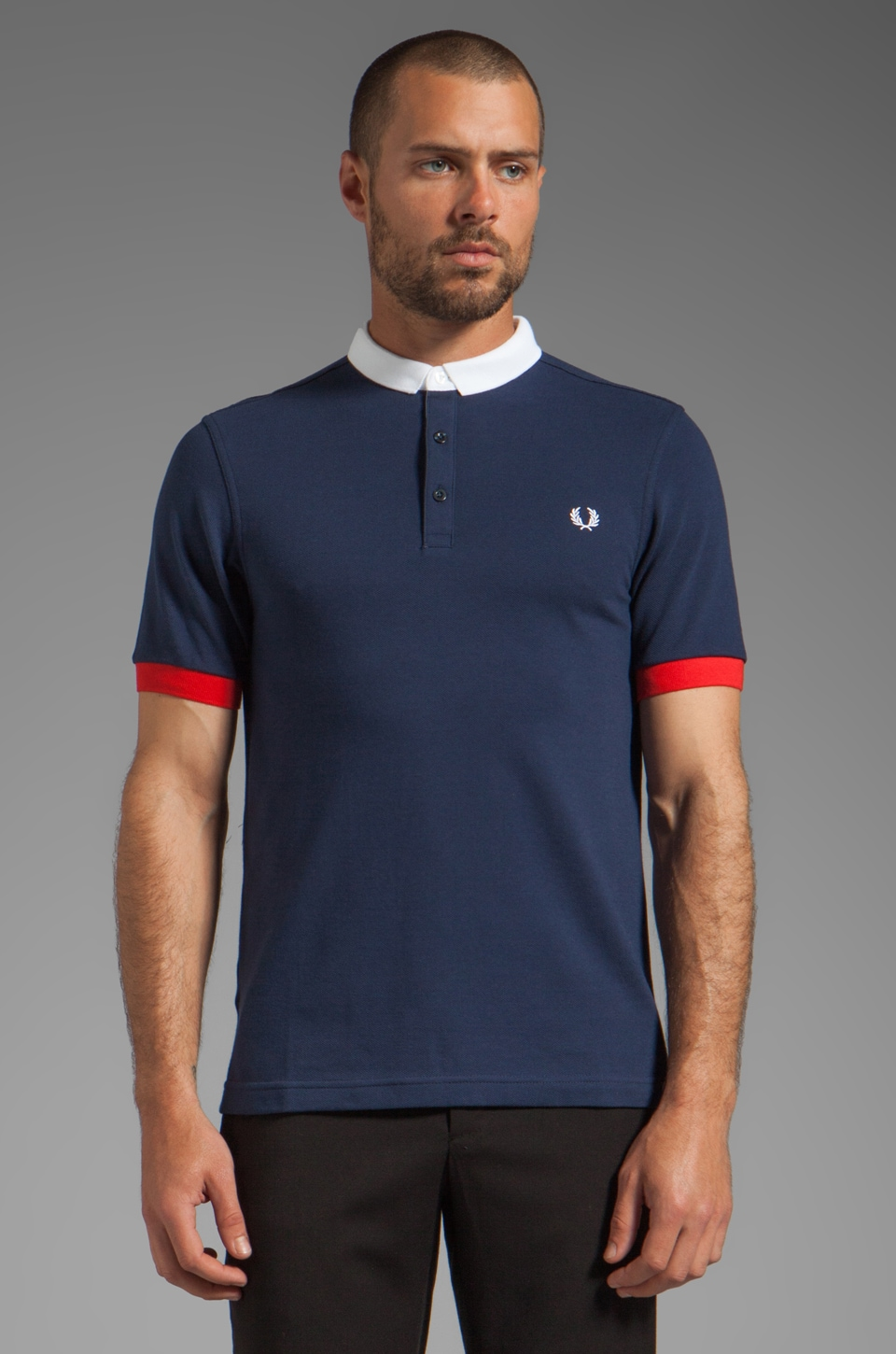 Fred Perry Block Collar Shirt in Dark Carbon