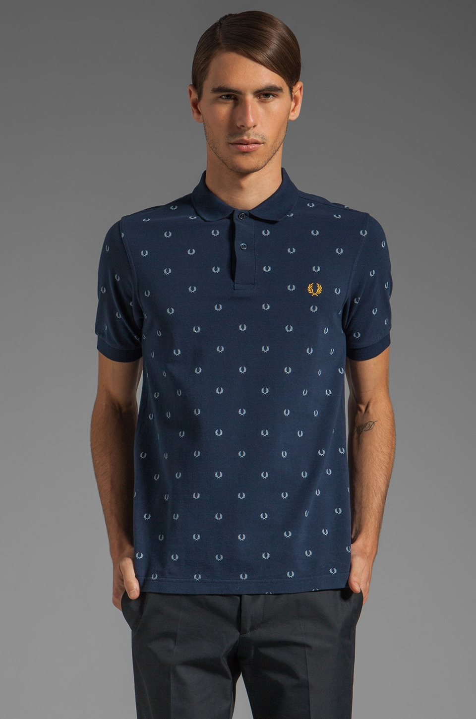 Fred Perry Laurel Print Shirt in Dark Carbon