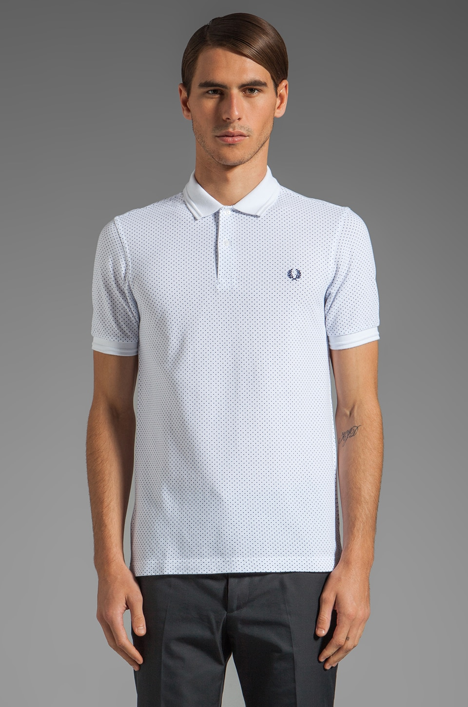 Fred Perry Pin Dot Print Shirt in White