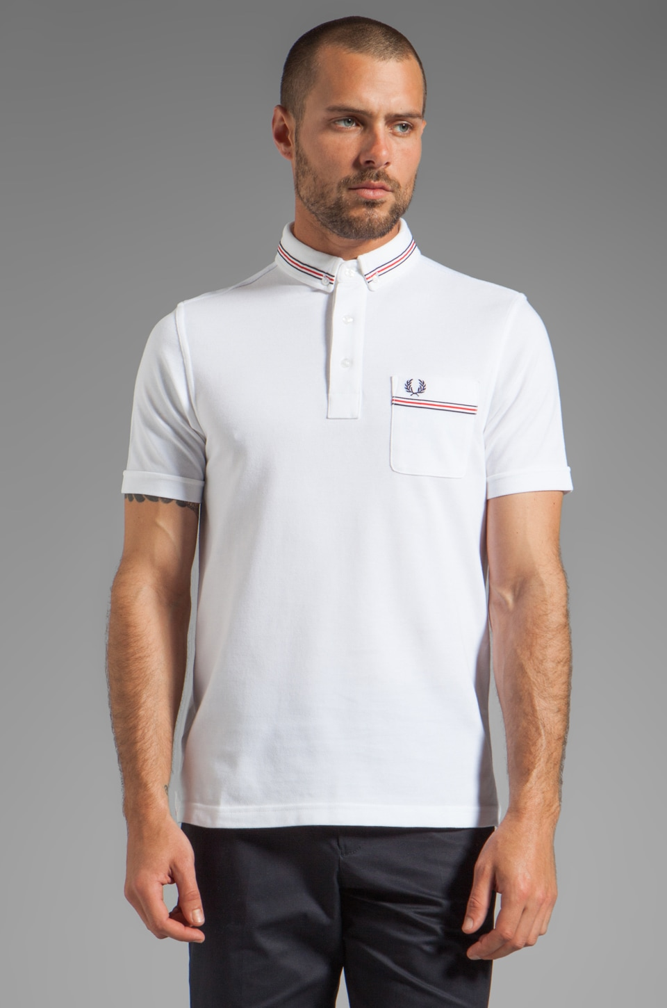 Fred Perry Grosgrain Shirt in White