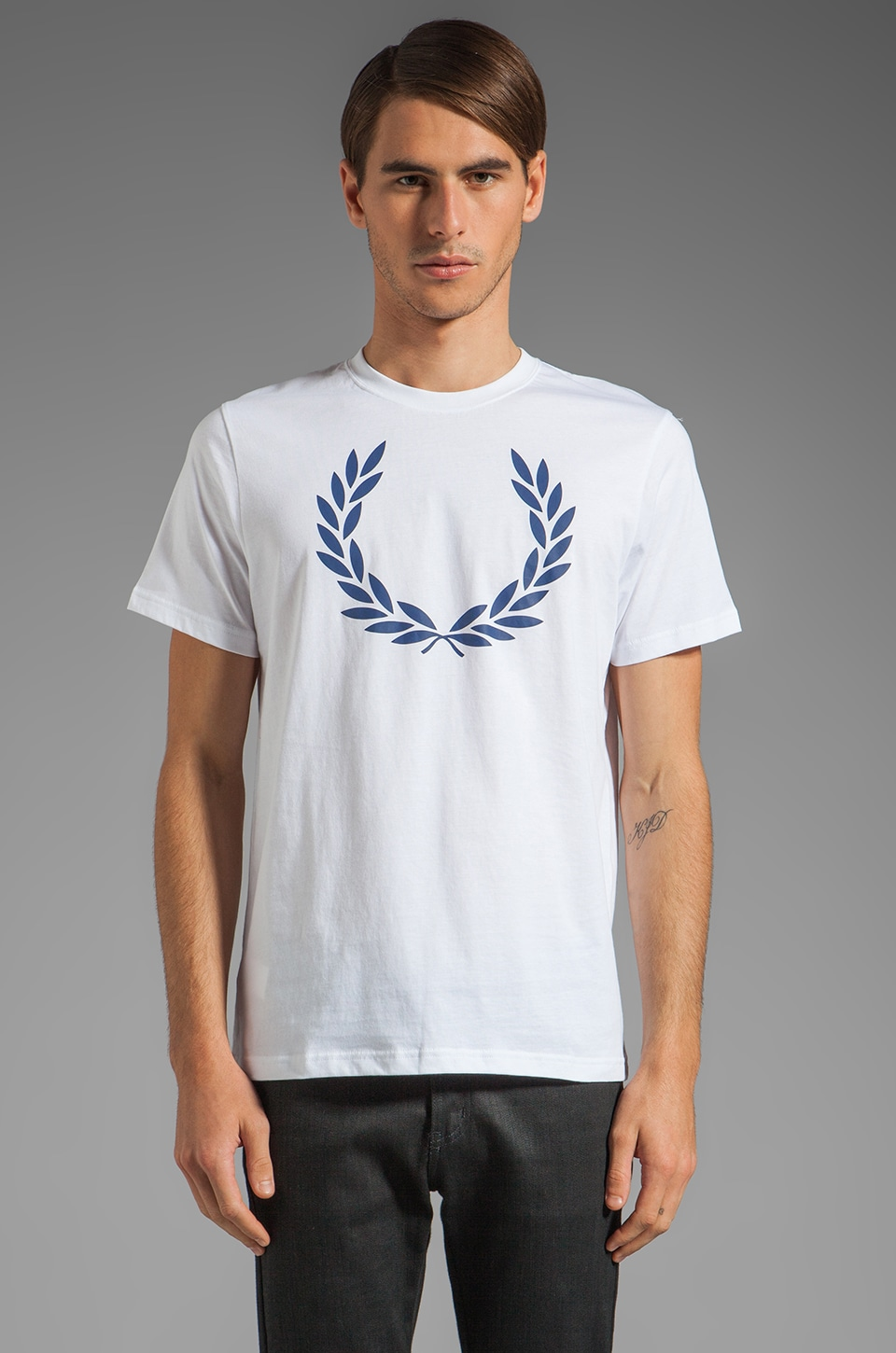 Fred Perry Laurel Print T-Shirt in White/Medieval Blue