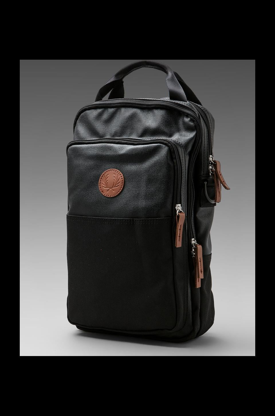 Fred Perry Coated Nylon Flight Bag in Black