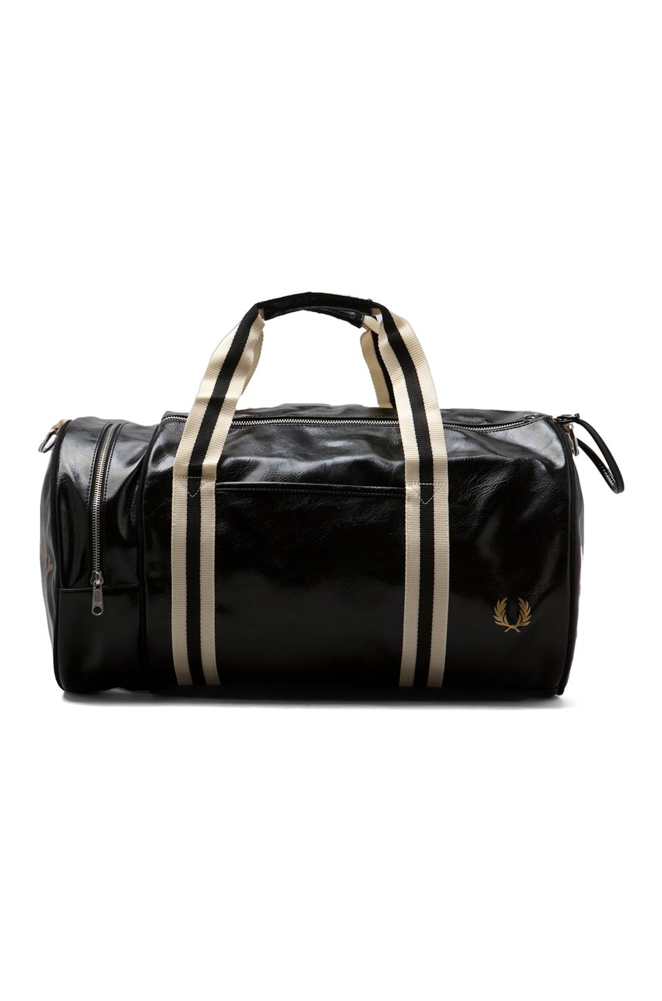Fred Perry Fred Classic Barrel Bag in Black/Gold