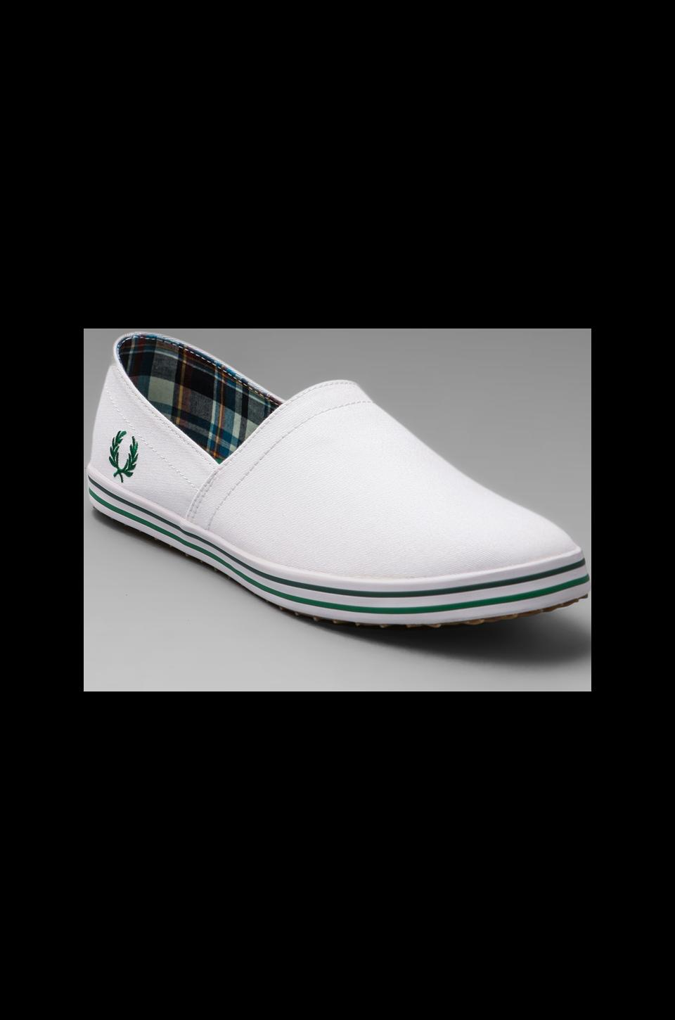 Fred Perry Kingston Stampdown Twill Slip On in White/Privet/Ivy