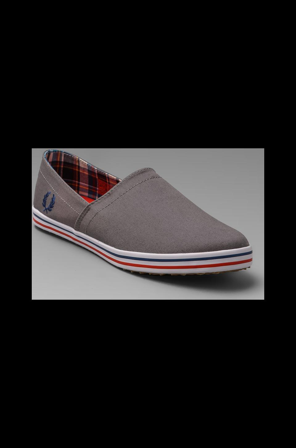Fred Perry Kingston Stampdown Twill Slip On in Mid Grey/Pacific/Fire Red