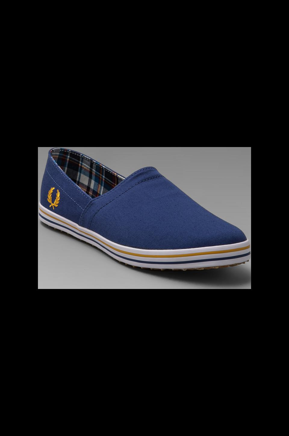 Fred Perry Kingston Stampdown Twill Slip On in Pacific/Gold