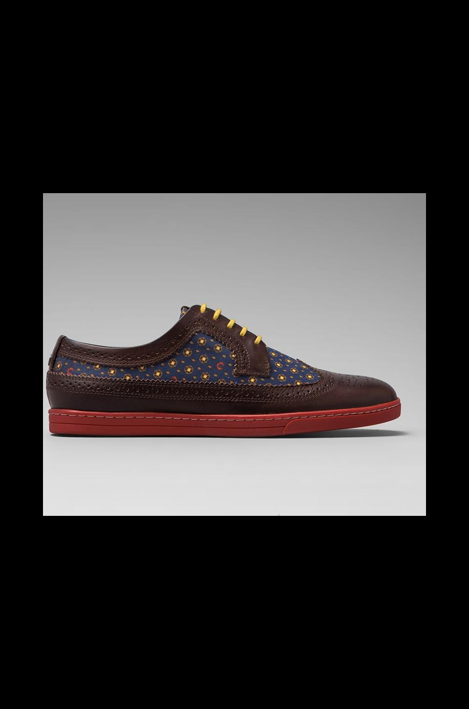 Fred Perry Eton Leather in Chocolate/Carbon Blue
