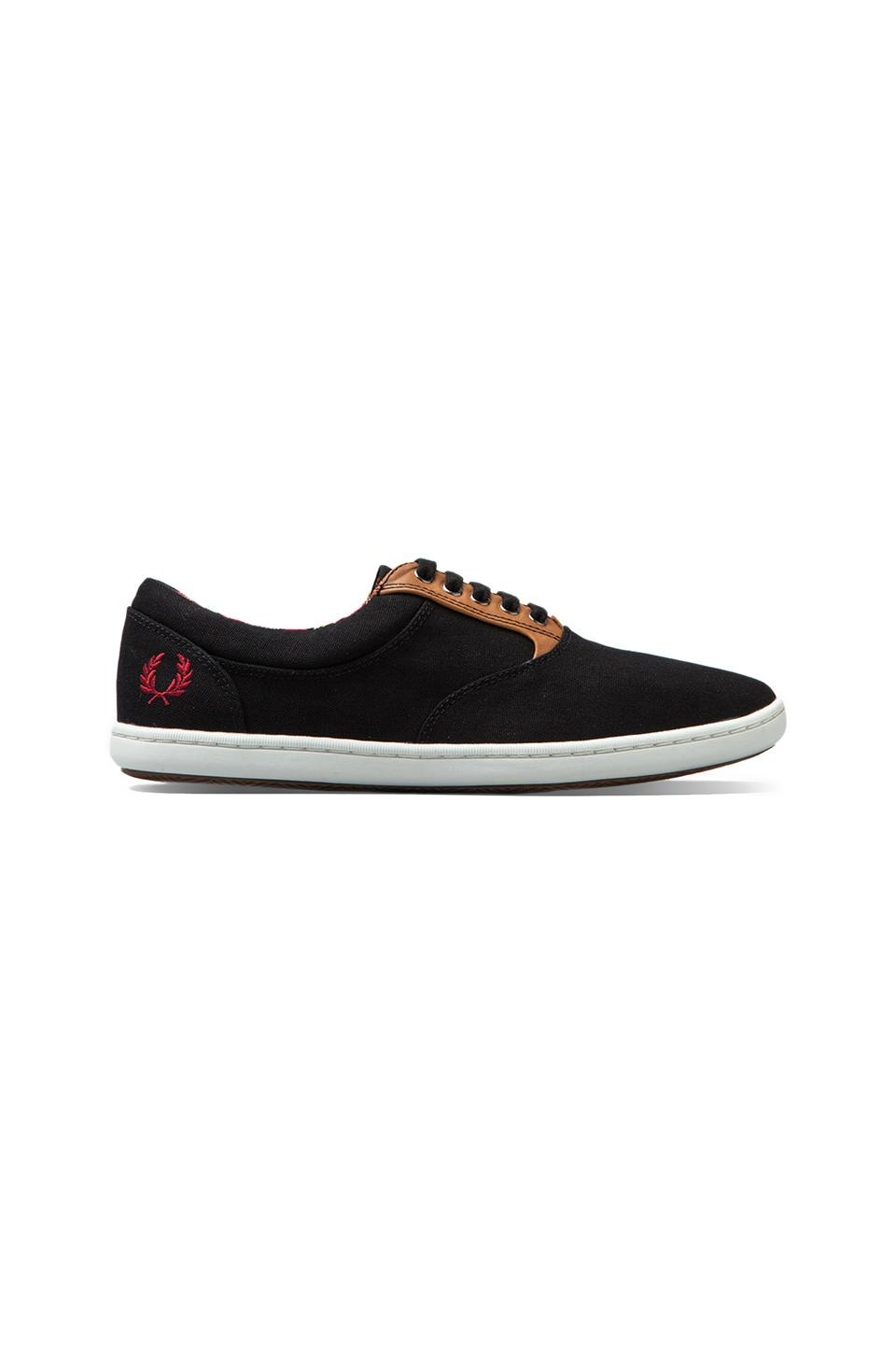 Fred Perry Carins Canvas/Leather in Black/Rosso