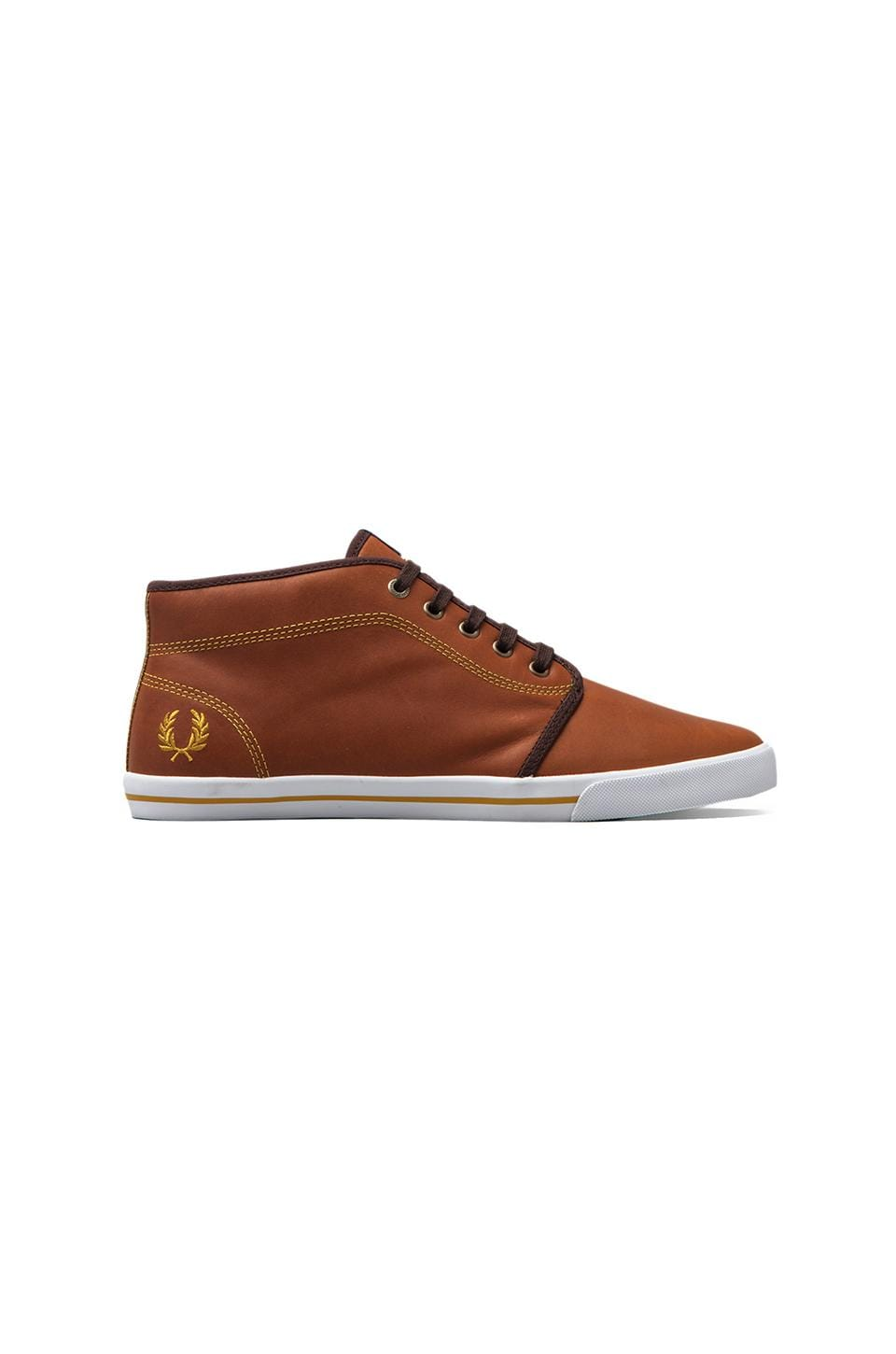 Fred Perry Fletcher Leather in Dark Tan/Mustard