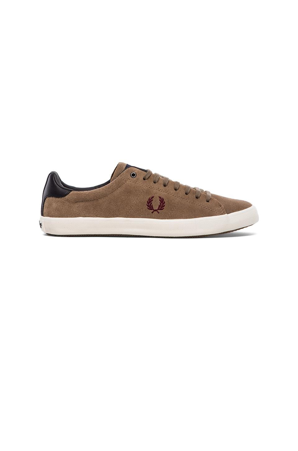 Fred Perry Howells Unlined Suede Sneakers in Driftwood & Maroon