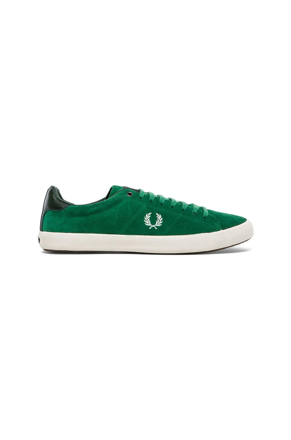 Fred Perry Howells Unlined Suede Sneaker in Privet & Porcelain