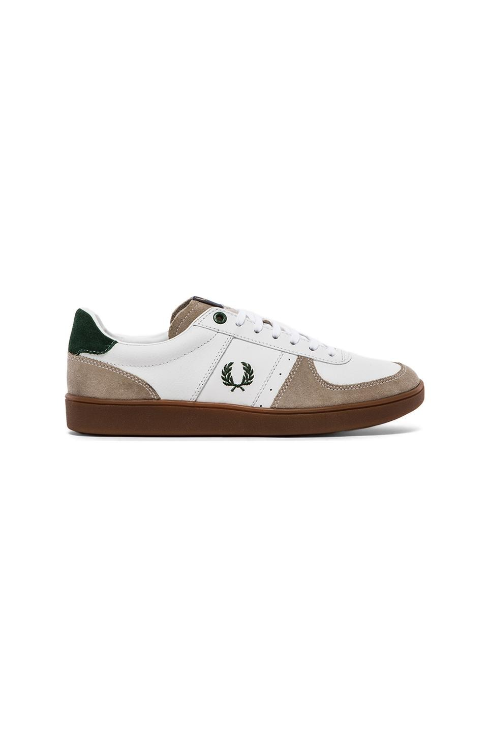 Fred Perry Topspin Leather/ Suede Sneaker in White & Tartan Green