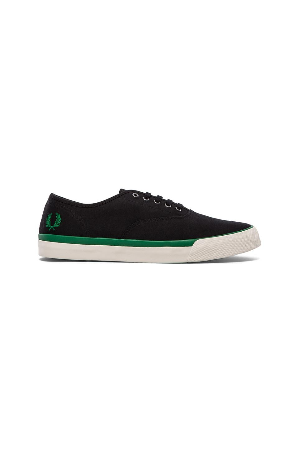 Fred Perry Clarence Twill Sneaker in Black & Privet