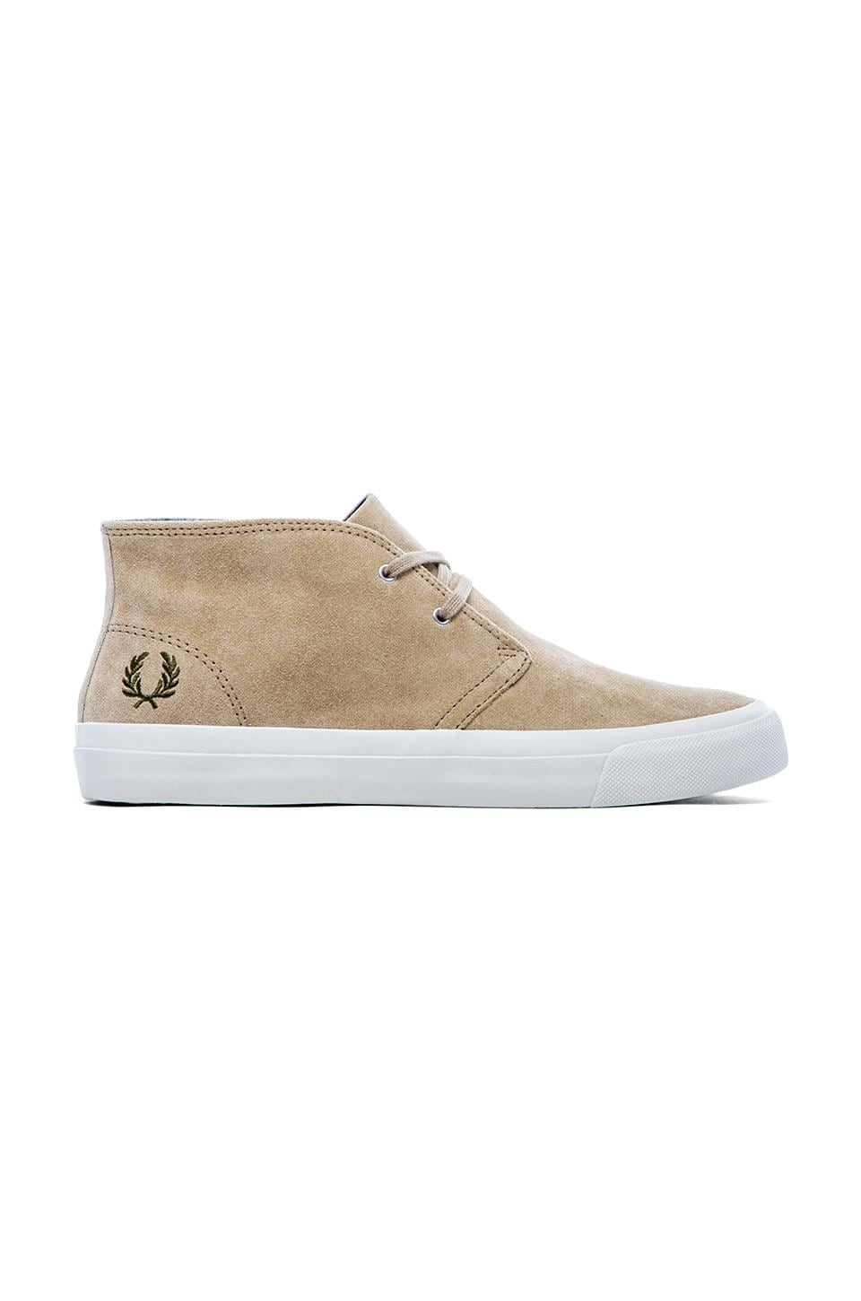 Fred Perry Vernon Mid Sneaker in Warm Stone & British Olive