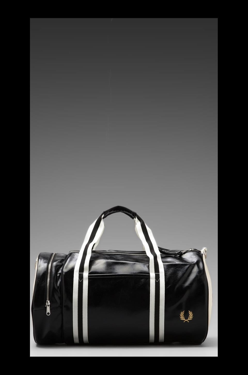 Fred Perry Classic Barrel Bag in Mid Black/ Ecru