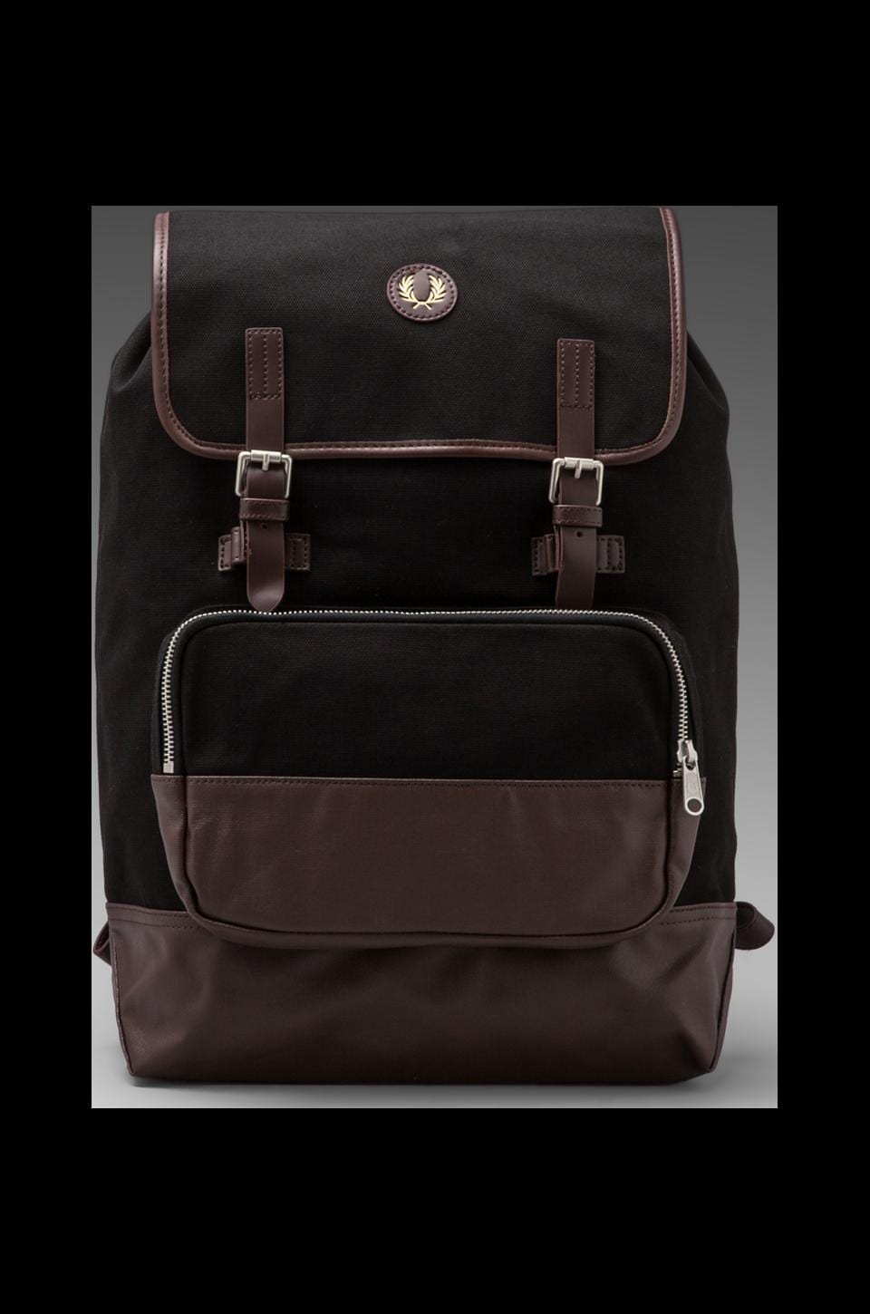 Fred Perry Cotton Rucksack in Black/ Chocolate