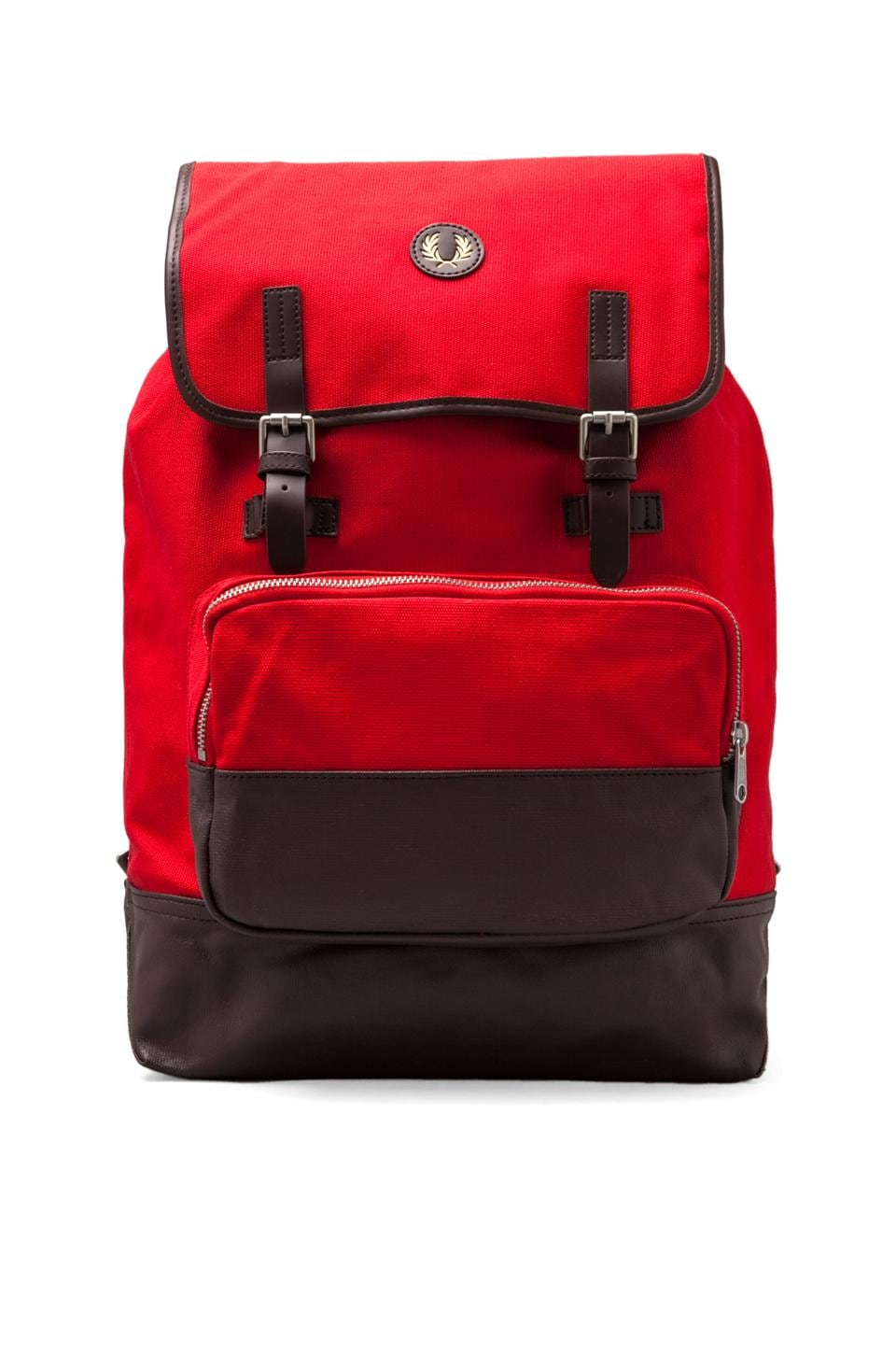 Fred Perry Cotton Rucksack in Red/ Chocolate