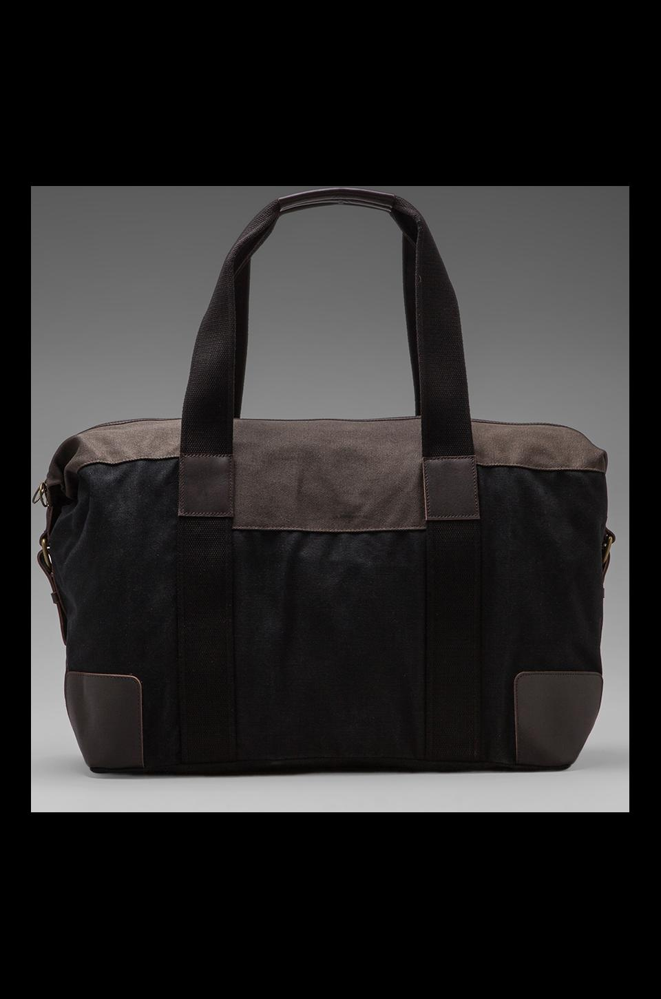 Fred Perry Waxed Canvas Holdall in Black/Charcoal