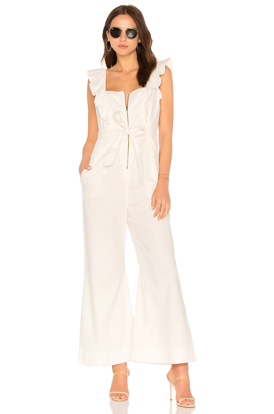 Free People Sun Valley Jumpsuit in Ivory