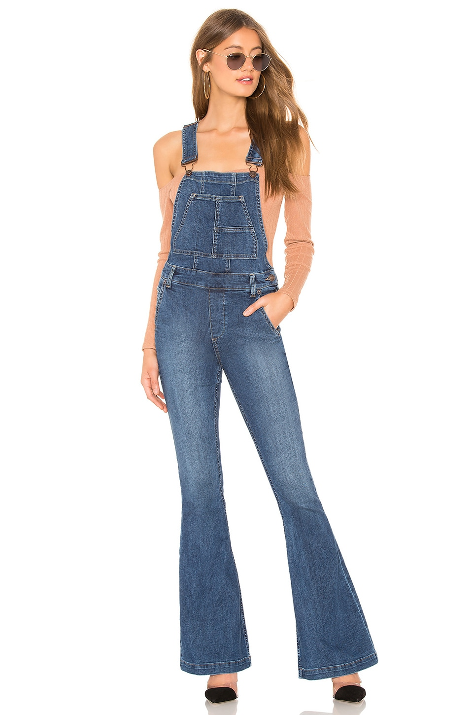 Free People Carly Flare Overall in Blue