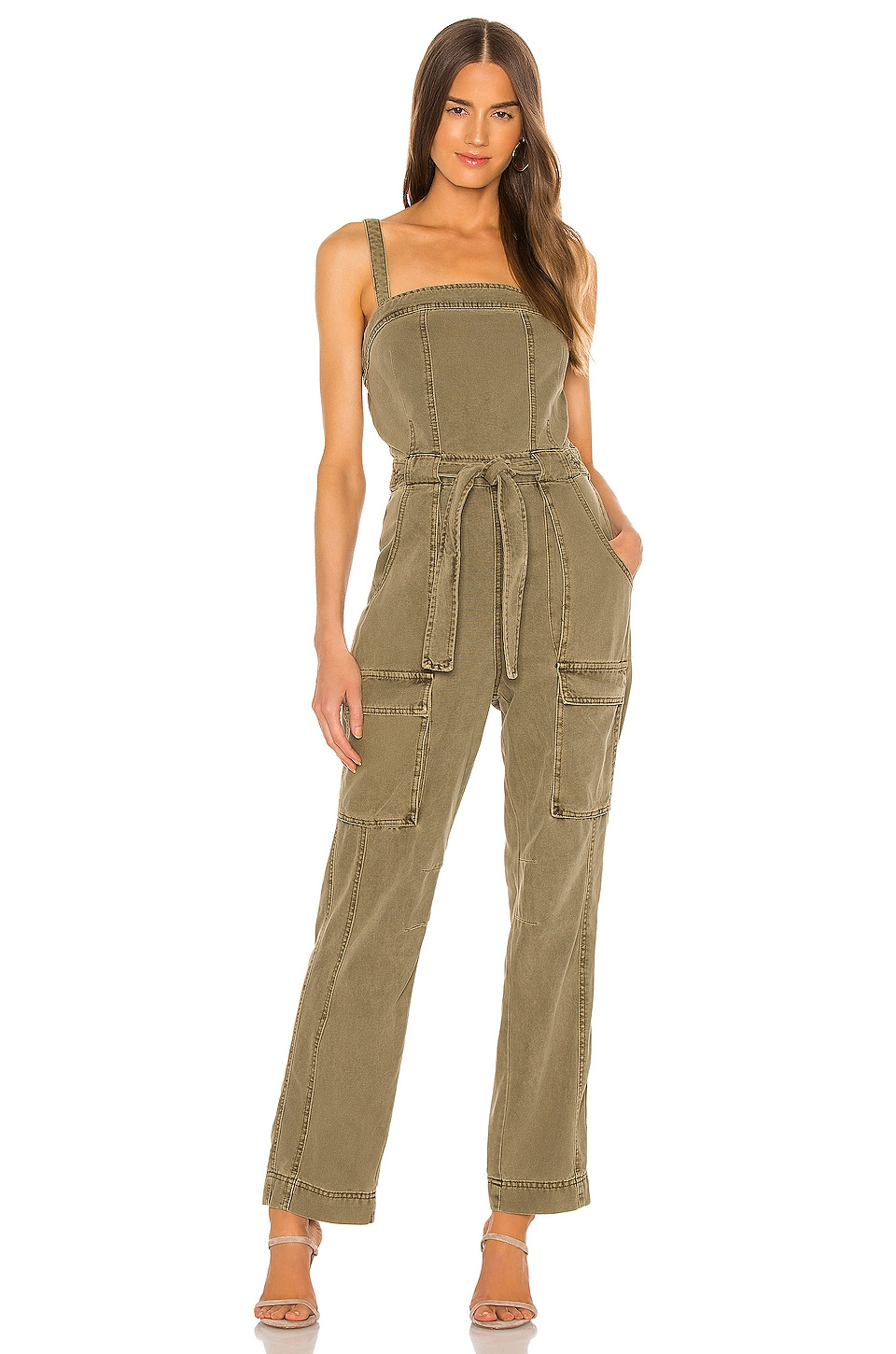 Free People Go West Utility Jumpsuit in Moss