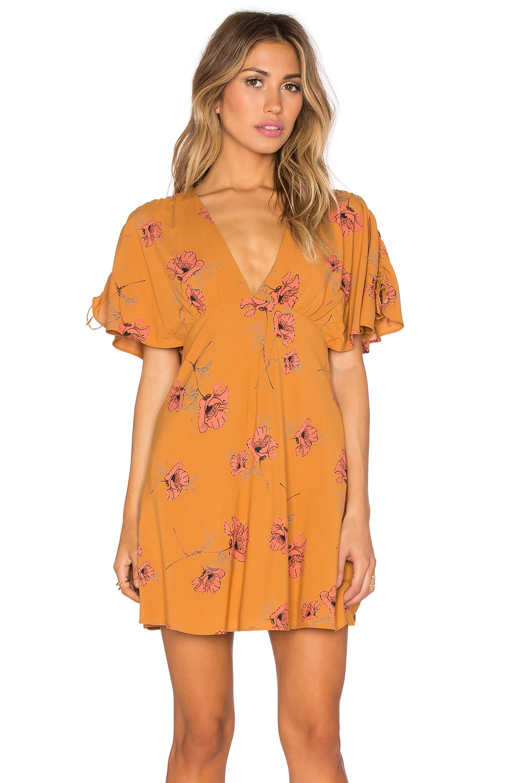 Free People Drapey Melanie Dress in Mustard Combo
