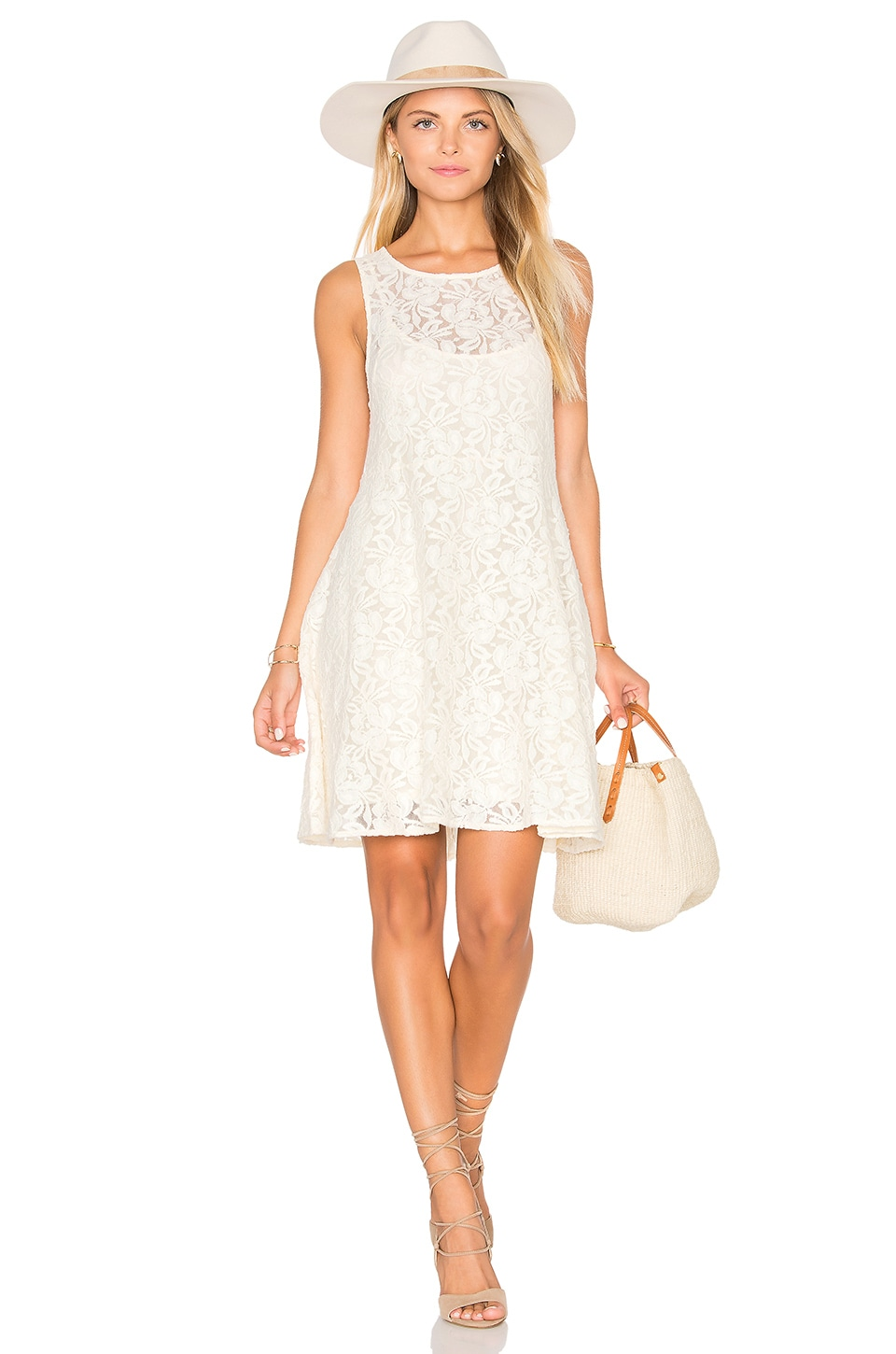 Free People Miles of Lace Dress in Ivory