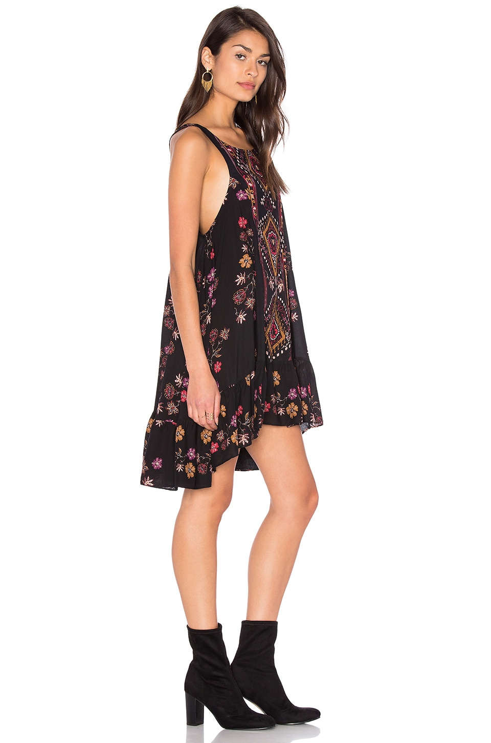 Free People Annka Boarder Slip Dress in Black Combo