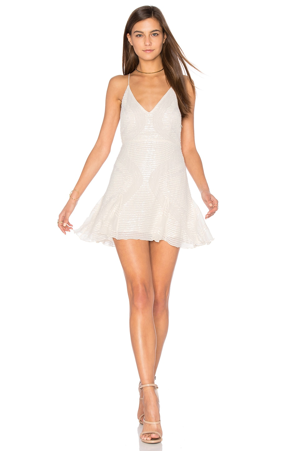 Free People Sparklette Mini Dress in Ivory
