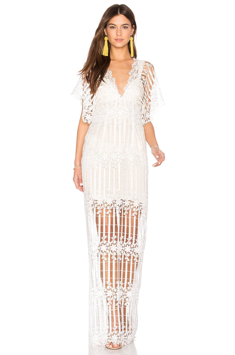 Free People Night Whispers Lace Maxi Dress in Cream