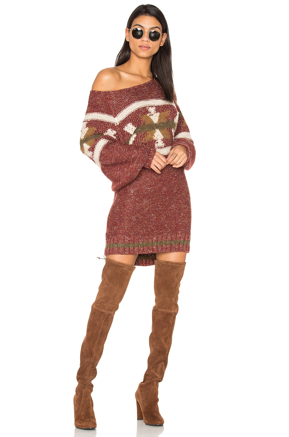 Free People Northern Lights Sweater Mini Dress in Red Combo