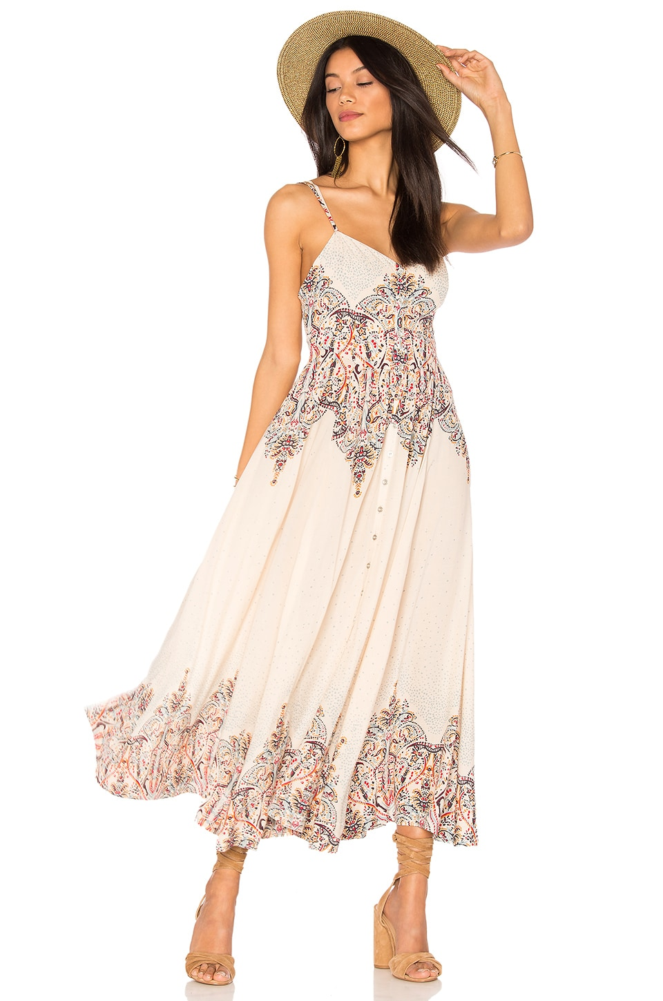 Free People Be My Baby Maxi Dress in Ivory Combo