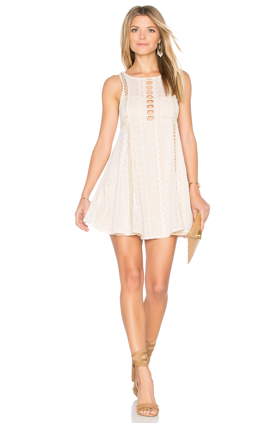 Free People Wherever You Go Mini Dress in Ivory