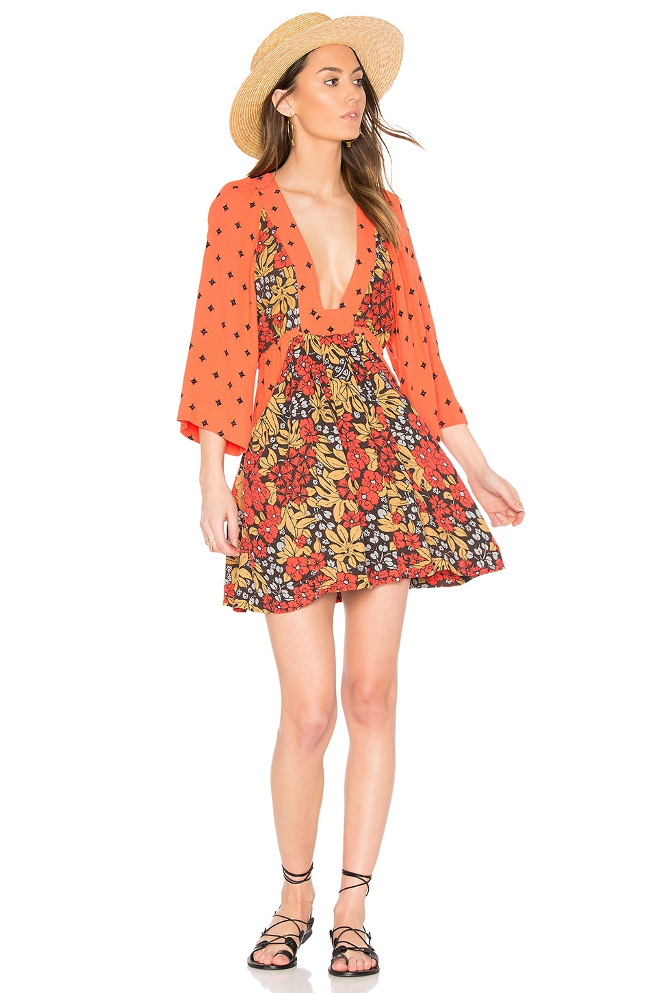 Free People Talulla Printed Mini Dress in Red Combo