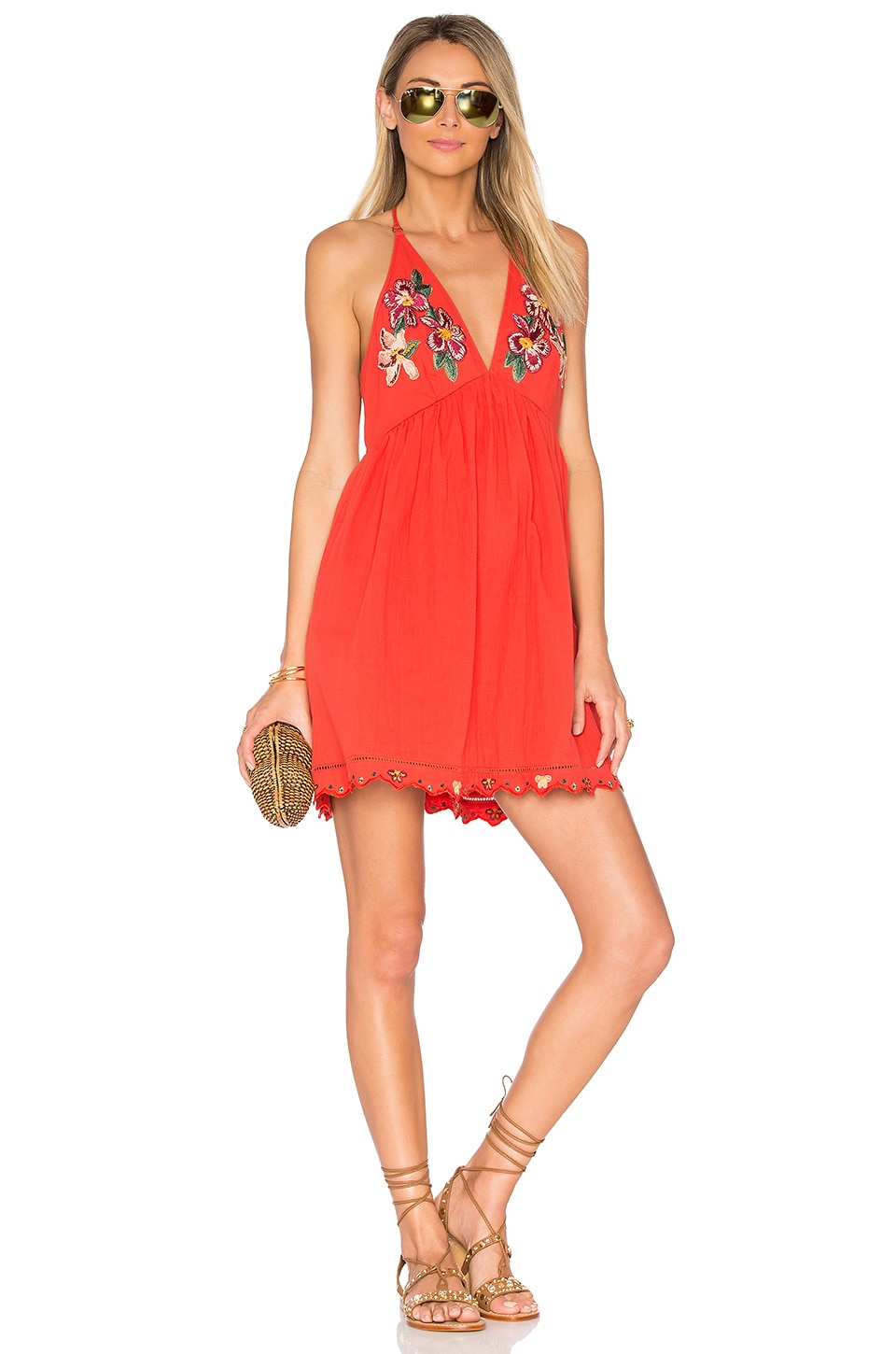 Free People Love and Flowers Dress in Coral
