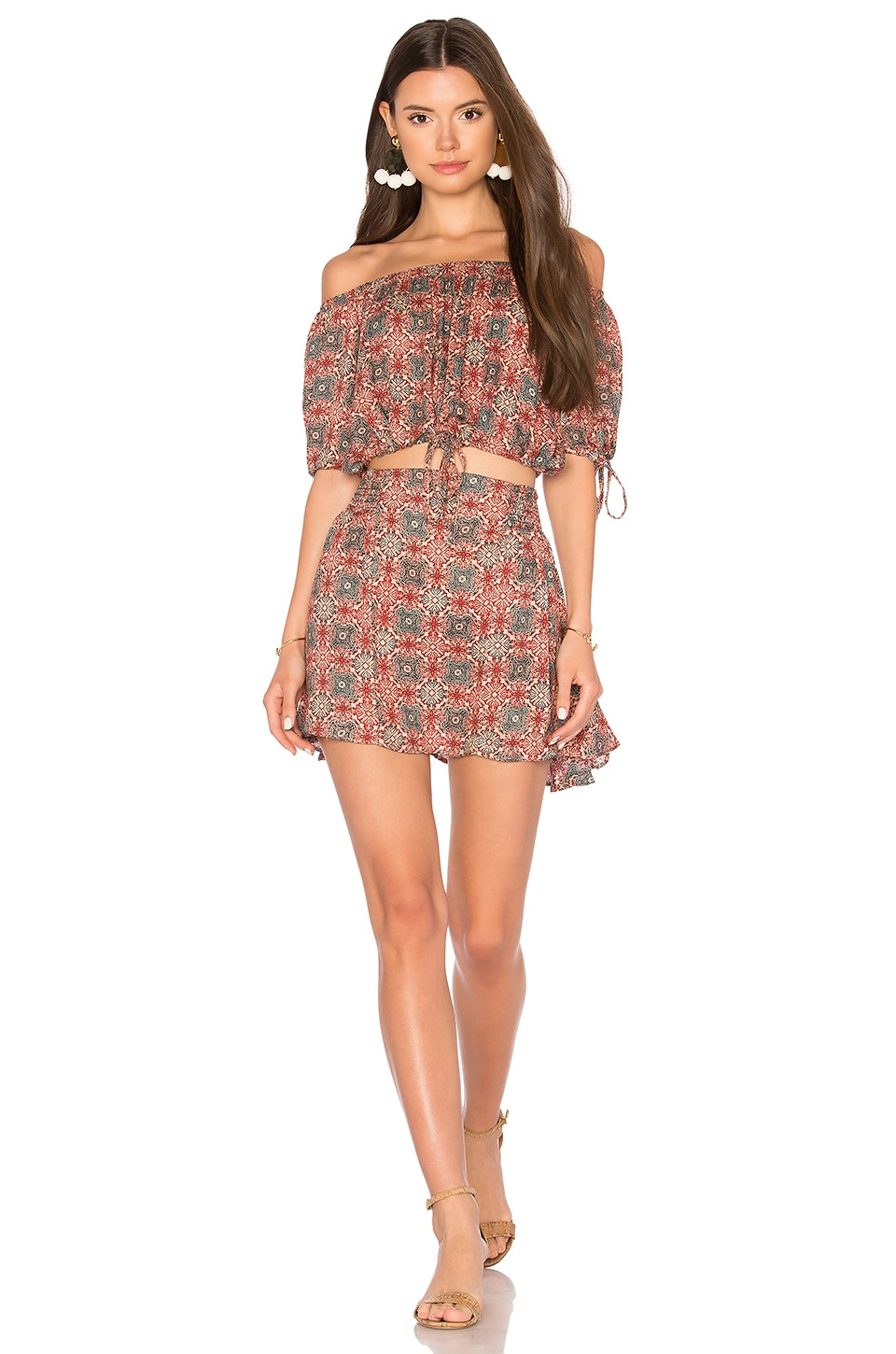 Free People Electric Love Printed Set in Red Combo