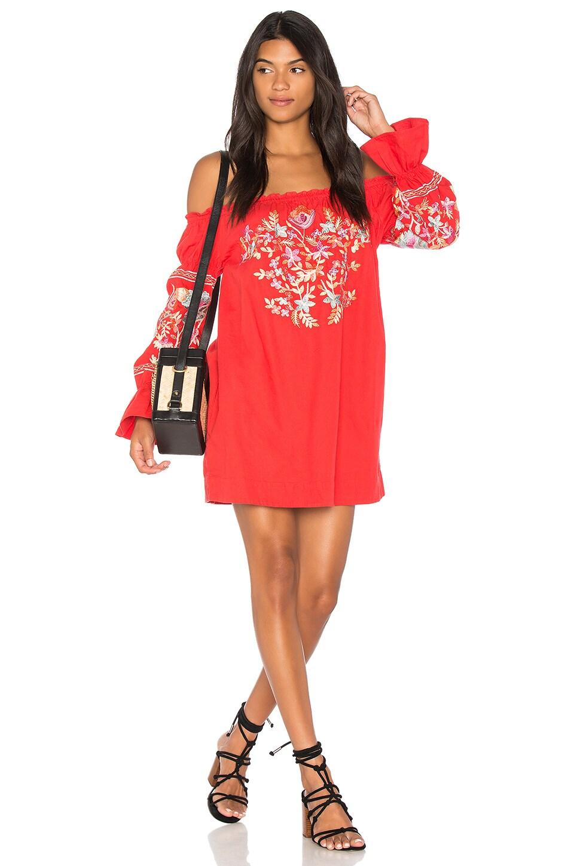 Free People Fleur Du Jour Mini Dress in Red