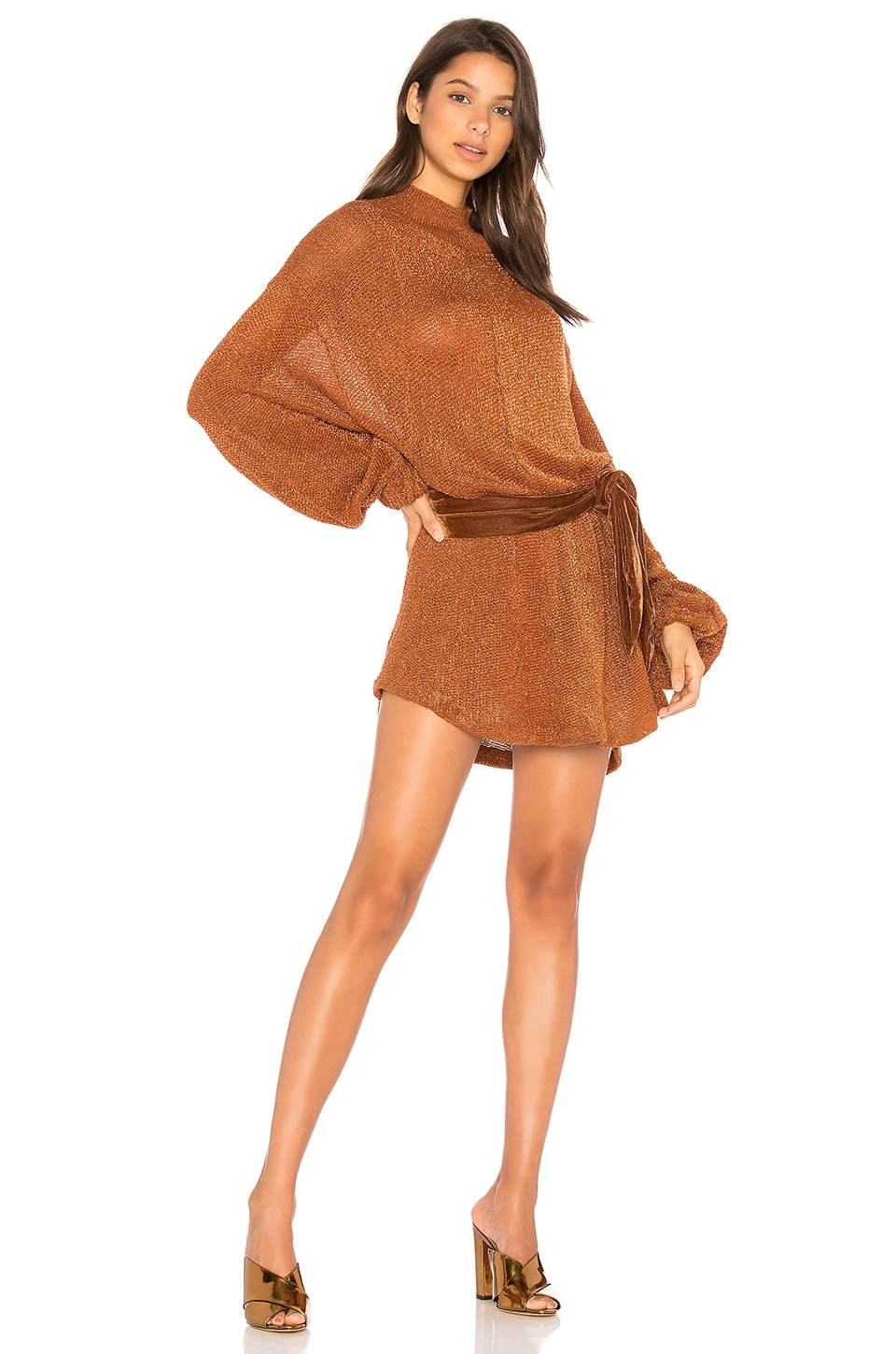 Free People Fete Sweater Dress in Terracotta