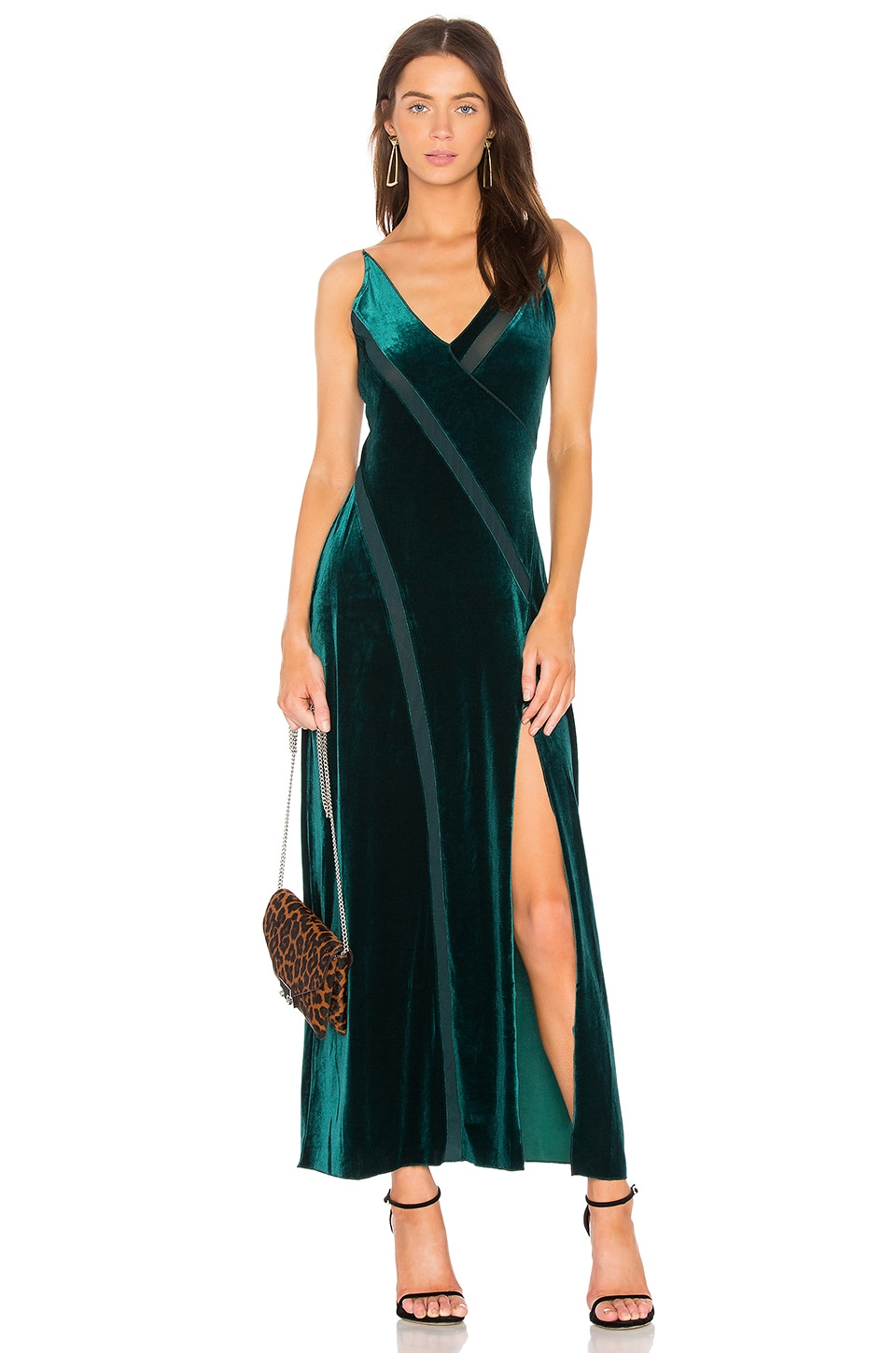 Free People Spliced Velvet Maxi Dress in Green