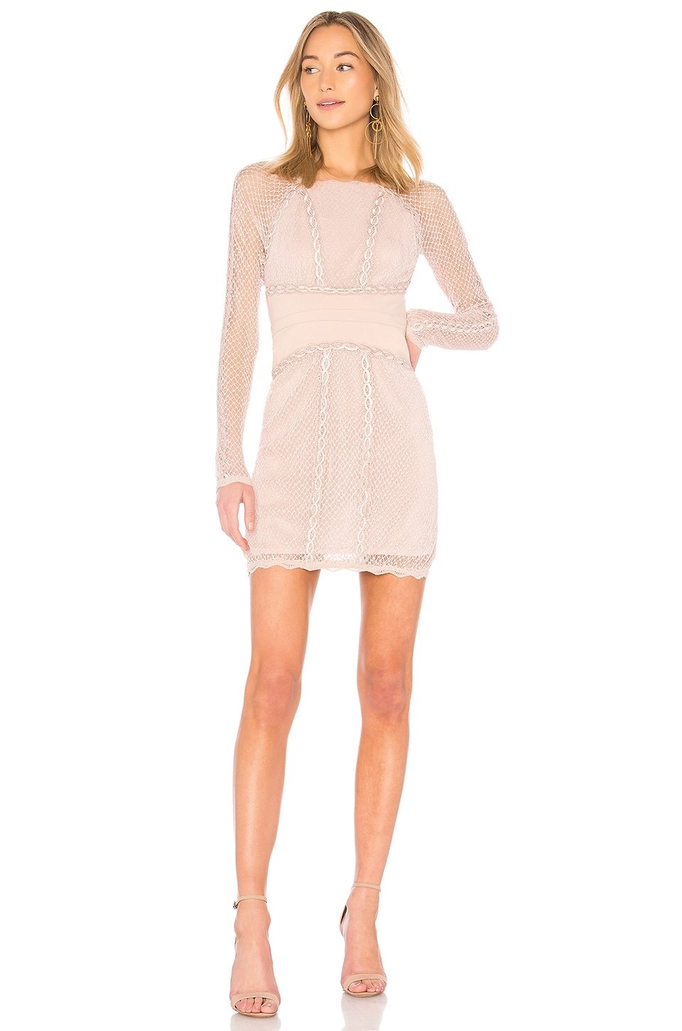 Free People Mixed Mesh Bodycon in Nude