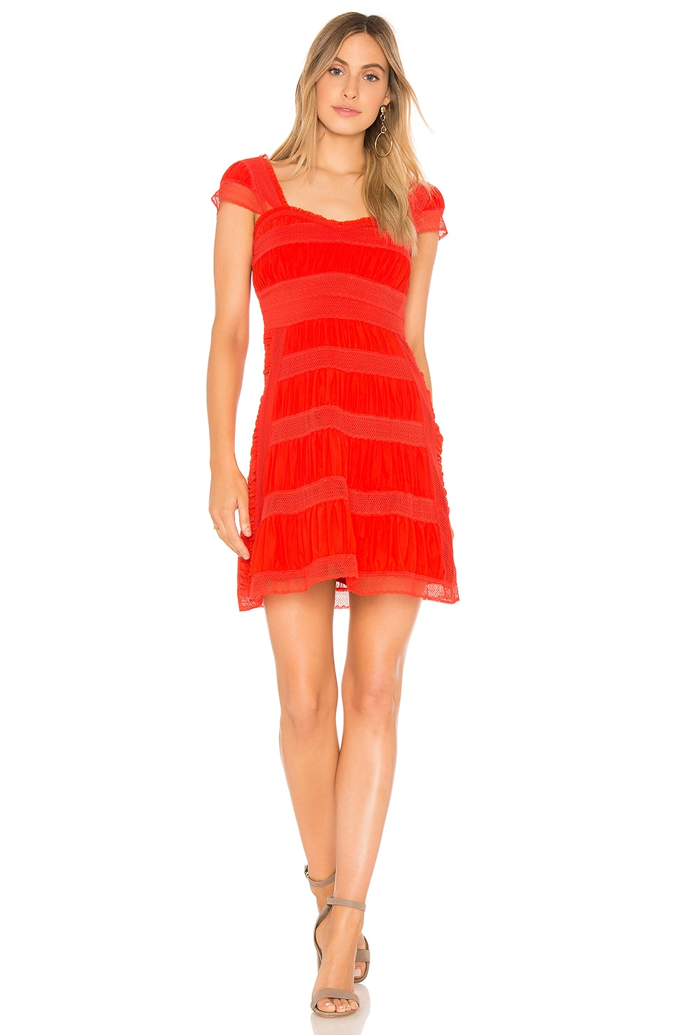 Free People Alicia Lace Mini Dress in Bright Red