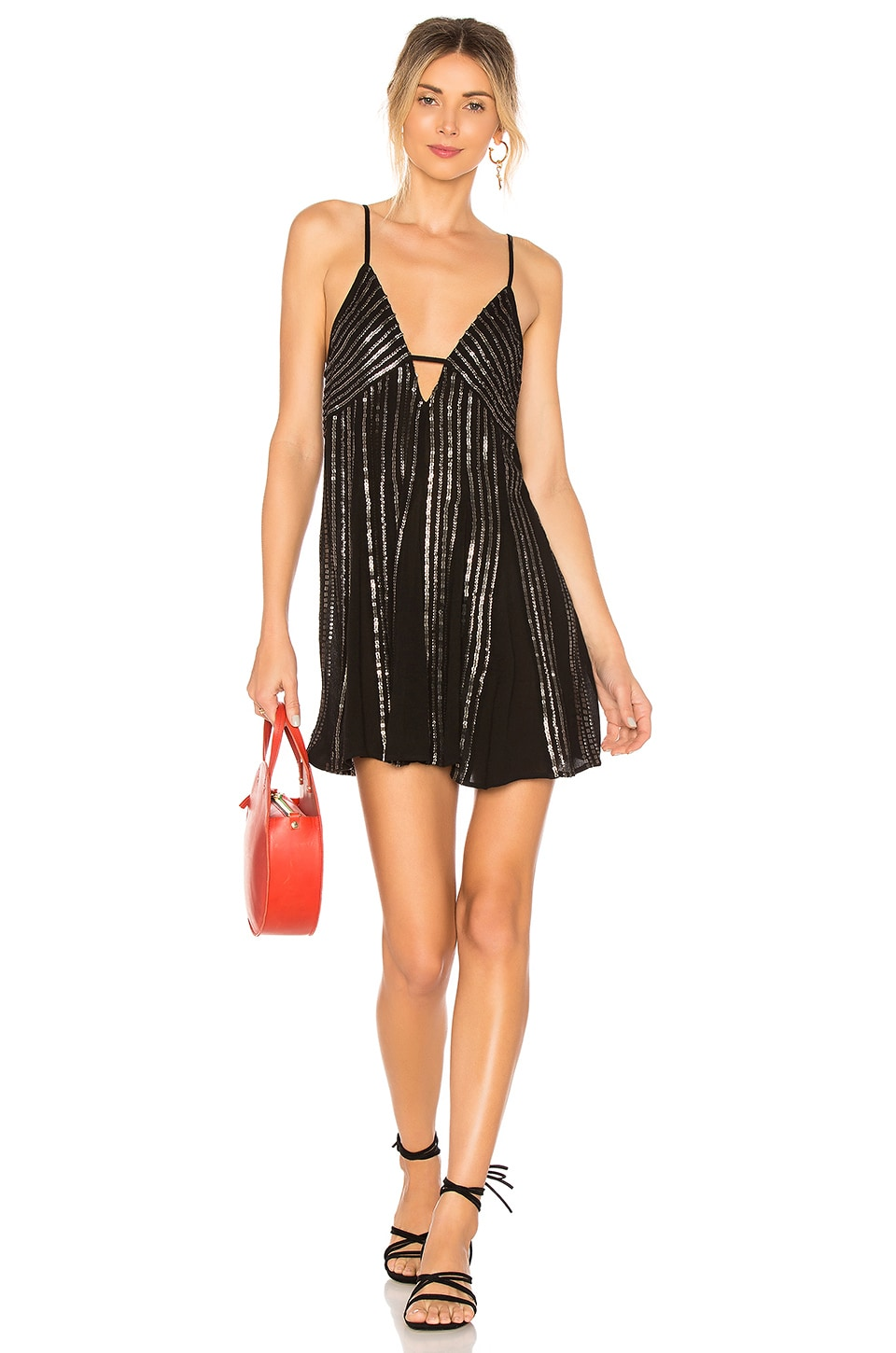 Free People Here She Is Embellished Dress in Black
