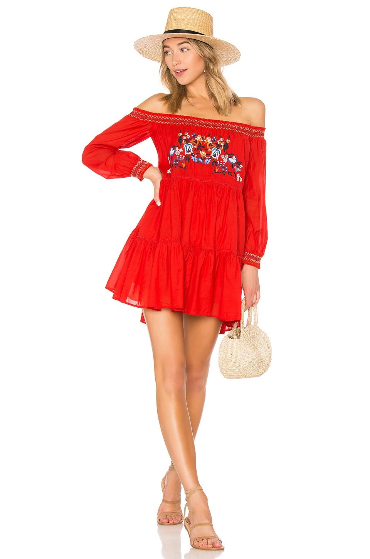 Free People Sunbeams Mini Dress in Red