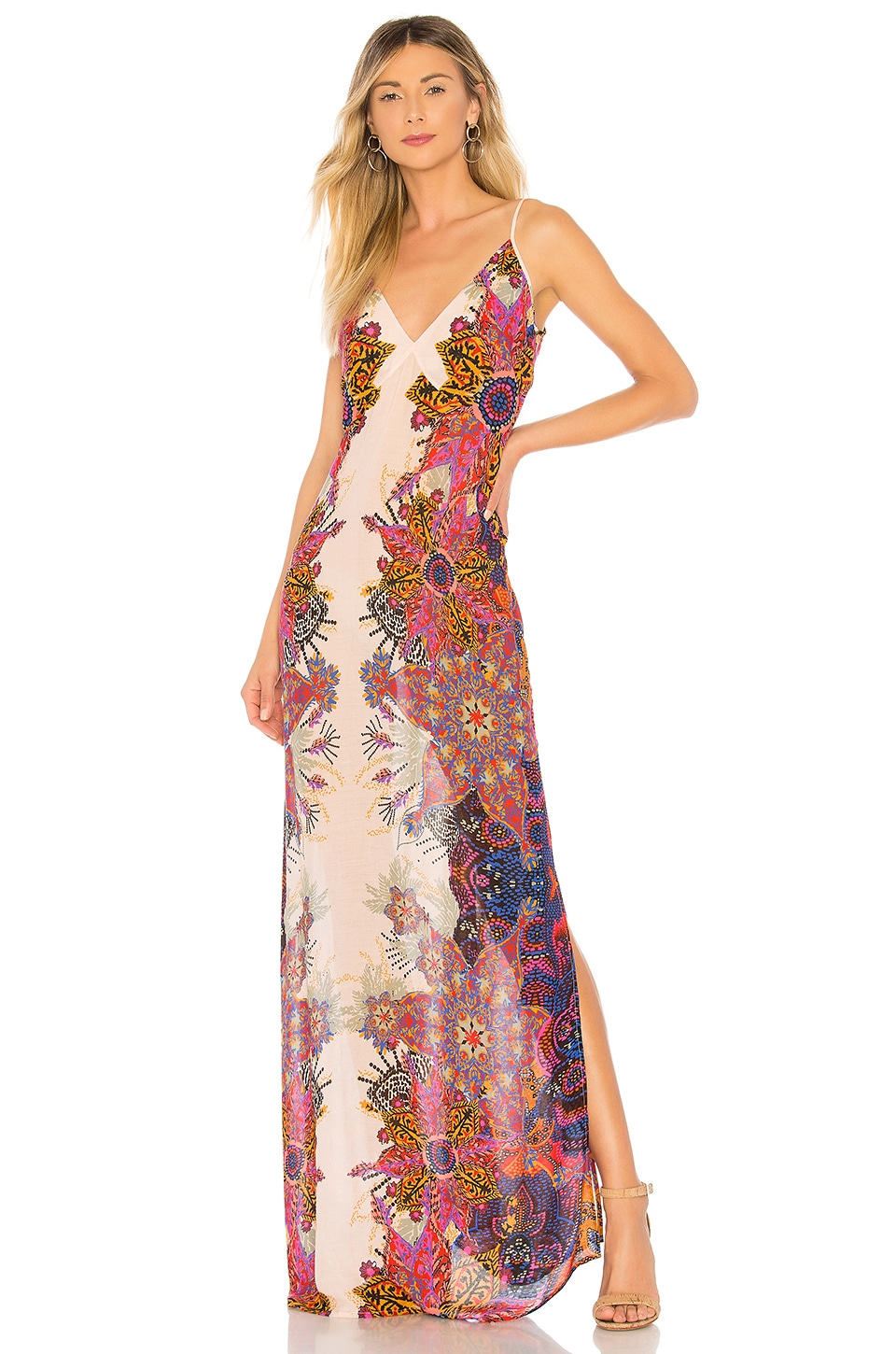 Free People Wildflower Printed Slip Dress in Ivory