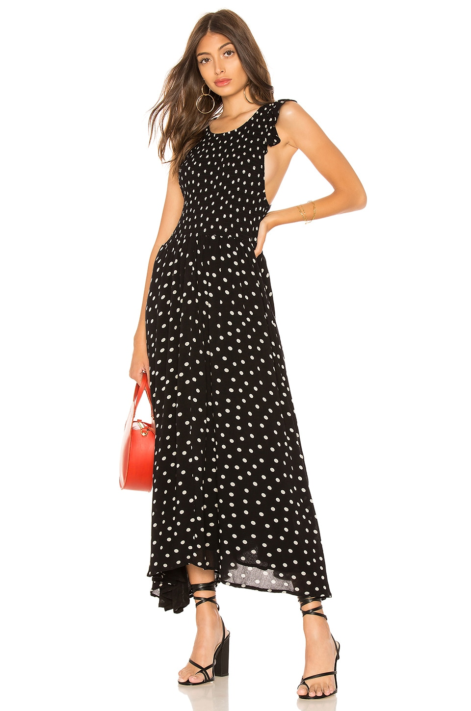 really cheap separation shoes cheap sale Free People Chambray Butterflies Dot Midi Dress in Black | REVOLVE